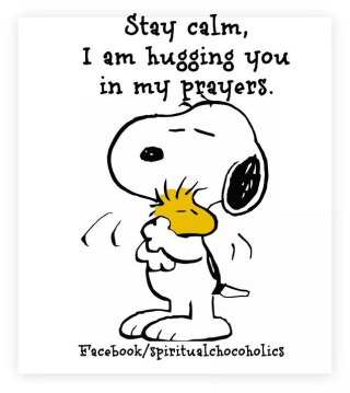 Snoopy hugging